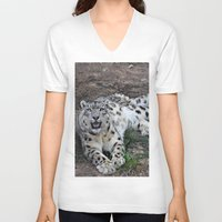 snow leopard V-neck T-shirts featuring Snow Leopard by Kaleena Kollmeier