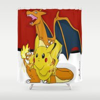 charizard Shower Curtains featuring PokeyBall by ItalianRicanArt