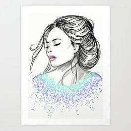 Blasé in Drops of Watercolour Art Print