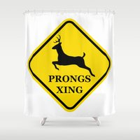 marauders Shower Curtains featuring prongs xing by Hannah Roxanne