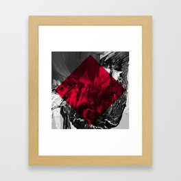 Waves // black and white abstract painting w/ red diamond Framed Art Print