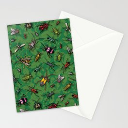 Bugs & Insects on Green Floral Background Stationery Cards