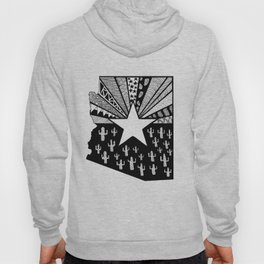 Black and White Arizona Patterned State Map Hoody