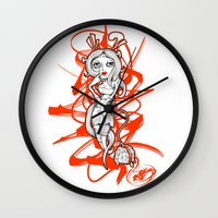 barbie Wall Clocks featuring Barbie Zombie by Paride J Bertolin