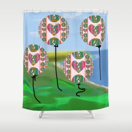 Love Balloons Protecting Guam Shower Curtain
