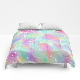 Artsy Colorful Abstract Paint Daub Polka Dots Comforters