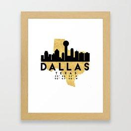DALLAS TEXAS SILHOUETTE SKYLINE MAP ART Framed Art Print