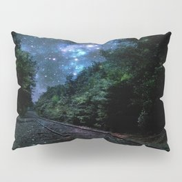 Train Tracks : Next Stop Anywhere Blue Side View Pillow Sham