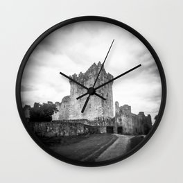 Ross Castle in Ireland in Black and White - Holga Film Photograph Wall Clock