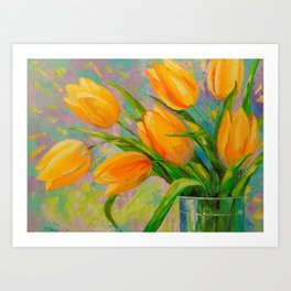 A bouquet of tulips Art Print