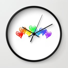 Rainbow Hearts Wall Clock