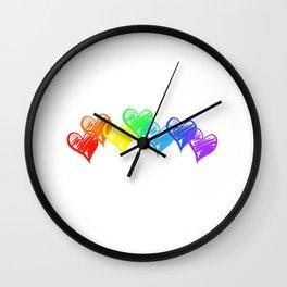 Rainbow Hearts Wall Clock