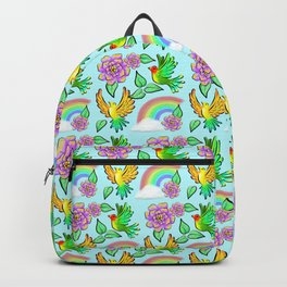 Birds Flowers and Rainbows Doodle Pattern Backpack
