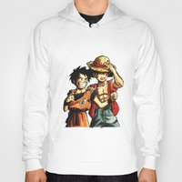 luffy Hoodies featuring Monkey D. Luffy and Son Goku by The Big Duo