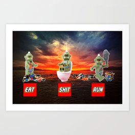 EAT SHIT RUN CYCLOPS LEGO Art Print