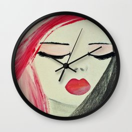 Shy Girl. Abstract Pink Girl. Pink Lips. Pink Hair. Jodilynpaintings. Eyelashes. Gift for All Girls. Wall Clock