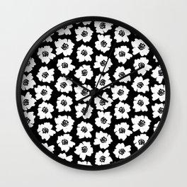Linocut botanical nature floral flower art nursery black and white decor newborn Wall Clock