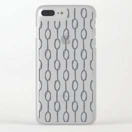Pebble Dot Stripes Gray on Rose Petal Cream Clear iPhone Case