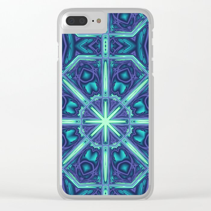 Kaleidoscope abstract in blue, purple and green Clear iPhone Case