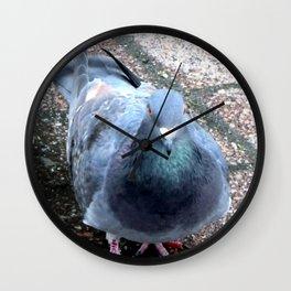 Urban Pigeon on City Sidewalk Wall Clock