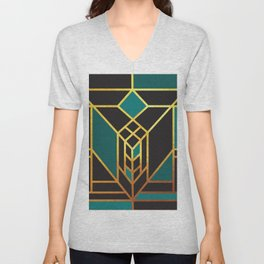 Art Deco Leaving A Puzzle In Turquoise Unisex V-Neck