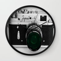 vintage camera Wall Clocks featuring VINTAGE CAMERA Green Lens by 2sweet4words Designs