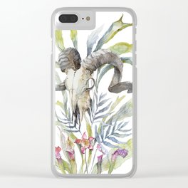 Short Day / Ram Animal Skull and Sarracenia Carnivorous Plant Platycerium Leaves Surreal Clear iPhone Case