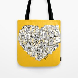 Camera Heart - on yellow Tote Bag