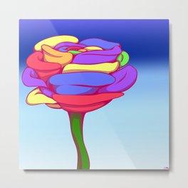 Rainbow Flower, Blue Background Metal Print