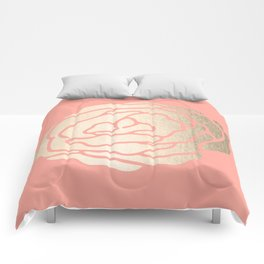Rose White Gold Sands on Salmon Pink Comforters