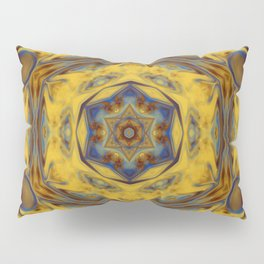 Gold and Electric Blue Design Pattern Pillow Sham