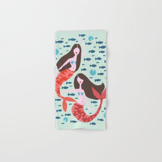 Koi Mermaids on Mint Hand & Bath Towel