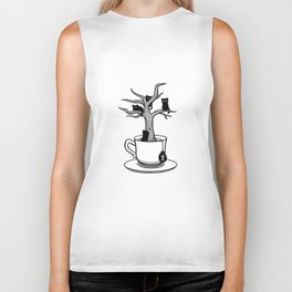 Bare tree with cats growing inside a cup of tea Biker Tank