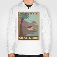 travel poster Hoodies featuring Ember Island Travel Poster by HenryConradTaylor