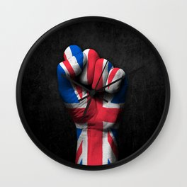 Union Jack Flag of The United Kingdom on a Raised Clenched Fist Wall Clock
