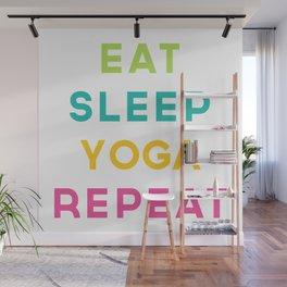Eat Sleep Yoga Repeat Quote Wall Mural