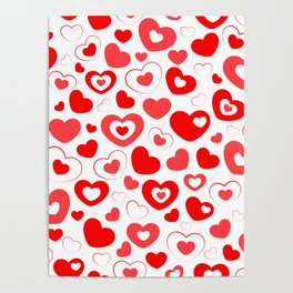 Red and White Hearts In Hearts Poster