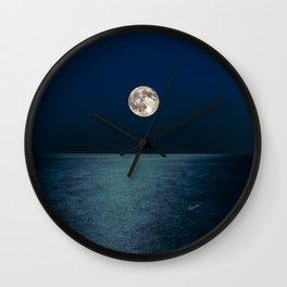 Moon Rising Over Lake Michigan Wall Clock