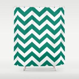 Generic viridian - green color - Zigzag Chevron Pattern Shower Curtain