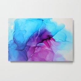 Aqua Pop - Alcohol Ink Painting Metal Print
