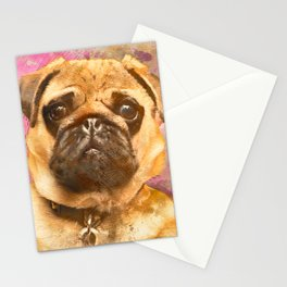 Pug Painting, Watercolor Pug, Pug Art, Pug Print, Dog Pug, Animal, Mixed Media, Love Pug, Decor Stationery Cards