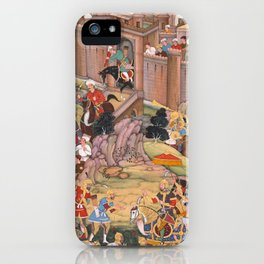 The Siege of Arbela in the Era of Hulagu Khan by Basavana - 16th Century Classical Indian Art iPhone Case