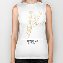 MUMBAI INDIA CITY STREET MAP ART Biker Tank