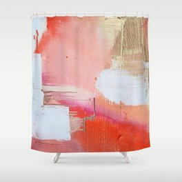 Moving Mountains: a minimal, abstract piece in reds and gold by Alyssa Hamilton Art Shower Curtain