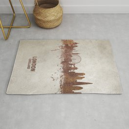 London England Rust Skyline Rug