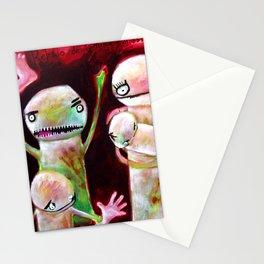 Retrato de familia caníbal con mascota cocodrilo Stationery Cards