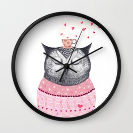 Owl lover of coffee Wall Clock