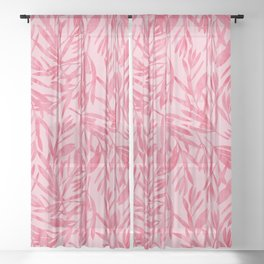 Abstract Pink Leaves Sheer Curtain