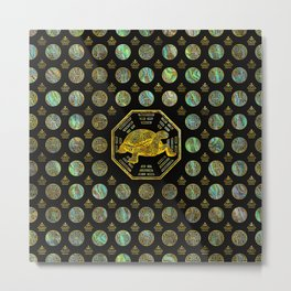 Golden Tortoise / Turtle Feng Shui Abalone Shell Metal Print