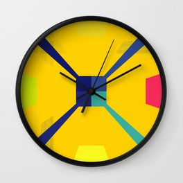 Nouveau Retro Graphic Yellow Blue and Red Wall Clock